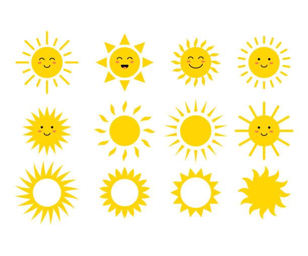 bildbanksillustrationer, clip art samt tecknat material och ikoner med uppsättning av solar. söt solar. gula ansikten. emoji. sommaren uttryckssymboler. vektorillustration - sun