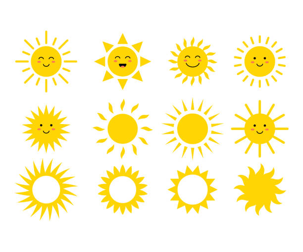 Set of the suns. Cute suns. Yellow faces. Emoji. Summer emoticons. Vector illustration Set of the suns. Cute suns. Yellow faces. Emoji. Summer emoticons. Vector illustration isoalted on white background. backgrounds symbols stock illustrations