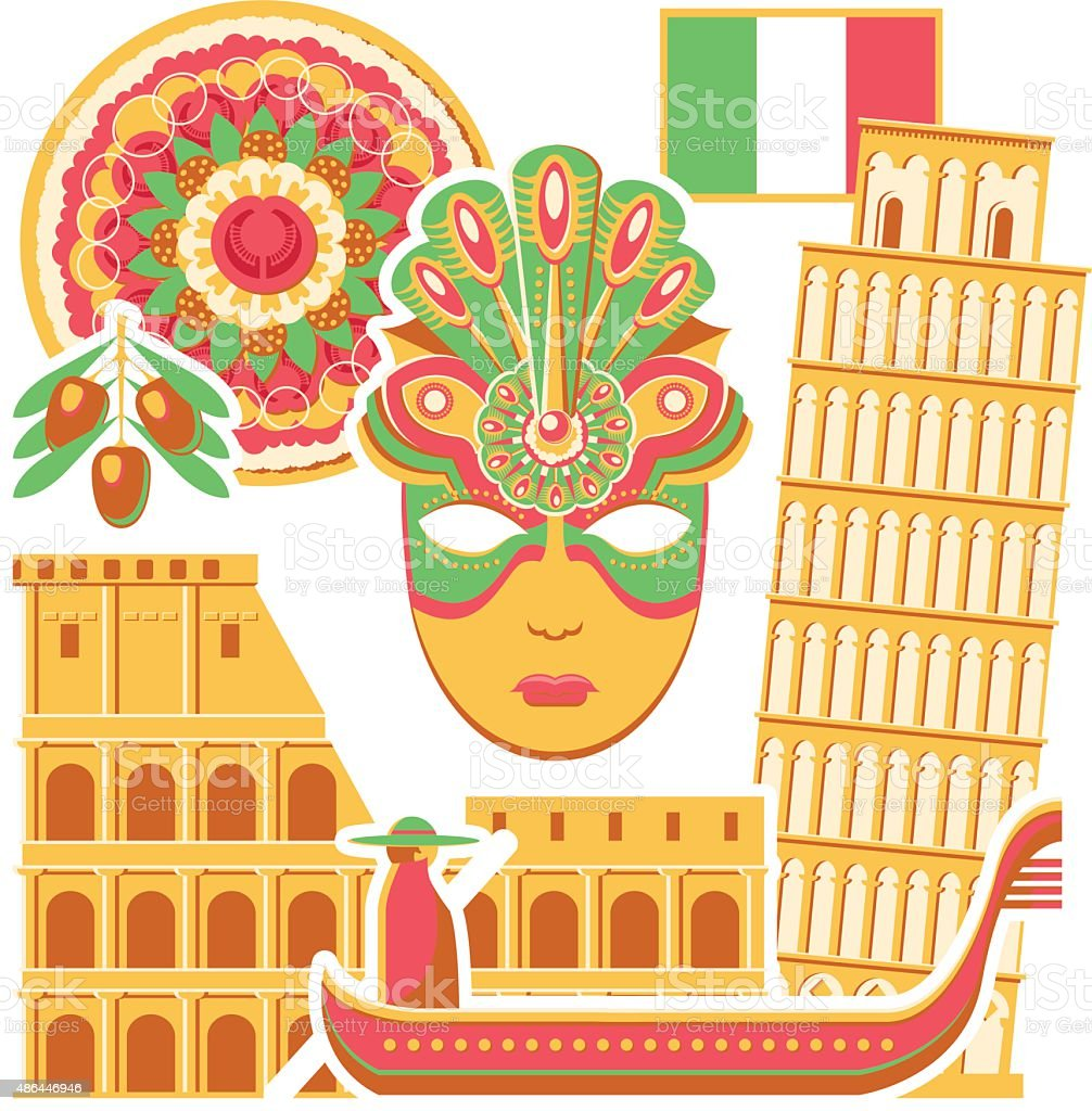Set Of The Symbols Of Italy Stock Vector Art More Images Of
