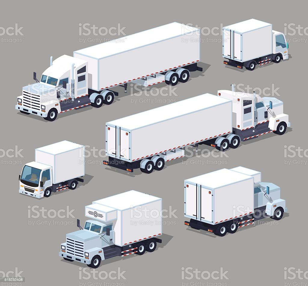 Set of the white low poly trucks vector art illustration