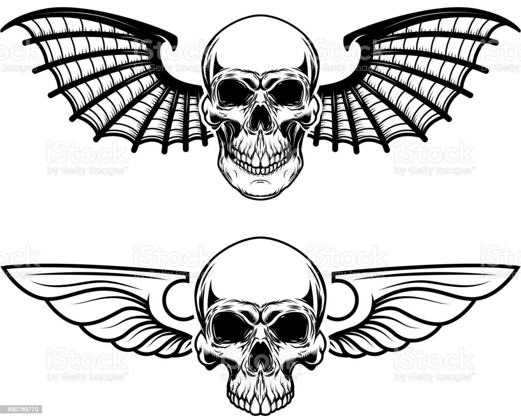 Set Of The Winged Craniums Skull With Bat Wings Design Elements For