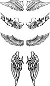 Set of the wings in vector.