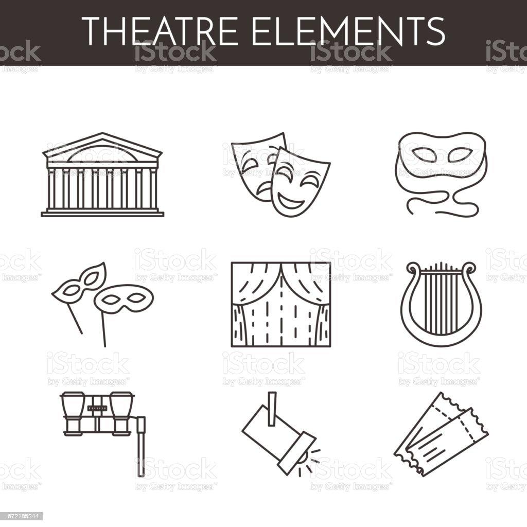 Satz des Theaters im Zusammenhang mit Linie Symbole – Vektorgrafik