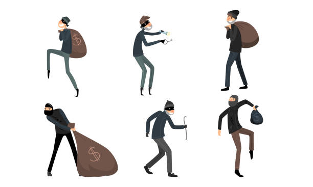 Set of thieves in masks and black suits in different action situations. Vector illustration in flat cartoon style. Collection set of thieves in masks and black suits in different action situations. Burglars at work concept. Isolated icons set illustration on a white background in cartoon style. bandit stock illustrations