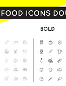 Set of Thin and Bold Vector Fastfood Fast Food Elements Icons and Equipment as Illustration can be used as icon or Icon in premium quality