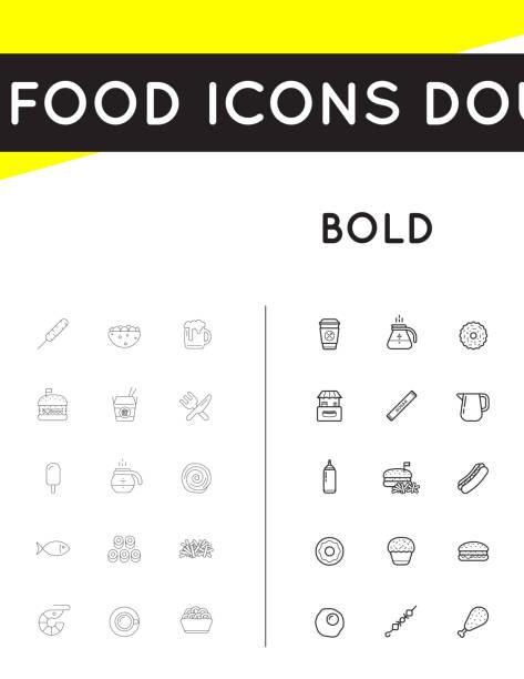 bildbanksillustrationer, clip art samt tecknat material och ikoner med uppsättning av tunn och djärva vector fastfood snabbmat element ikoner och utrustning som illustration kan användas som ikon eller ikon i premiumkvalitet - brownie