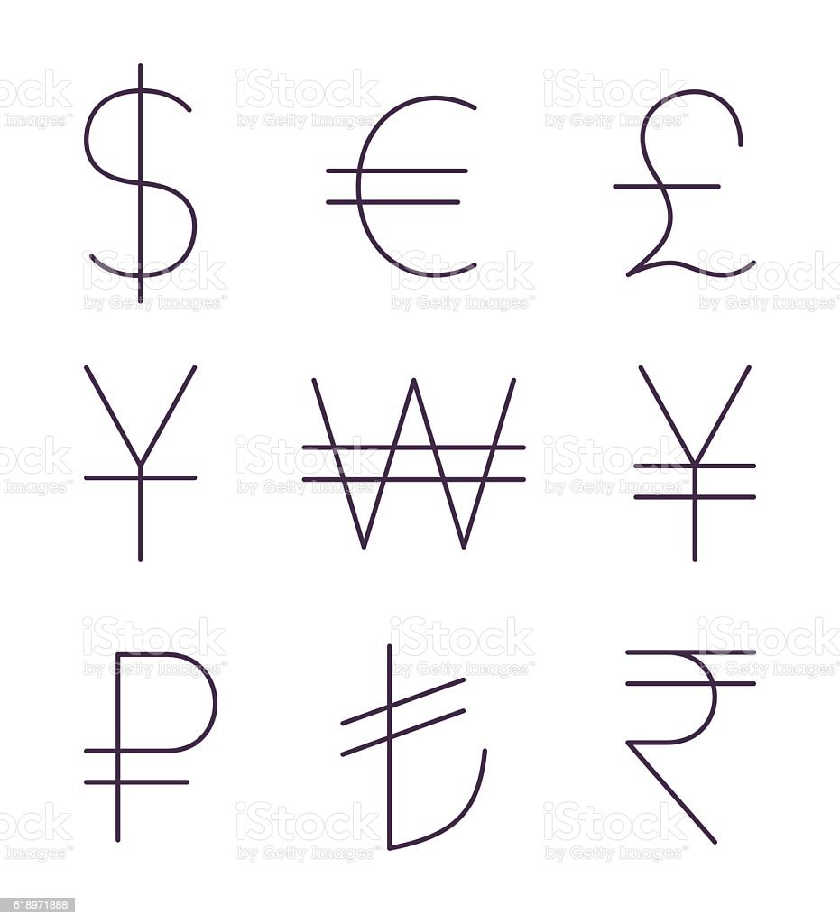 Set of thin currency signs vector art illustration