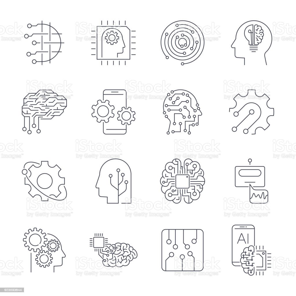 Set of thin icons related to artificial intelligence and data science mono line. Editable Stroke vector art illustration