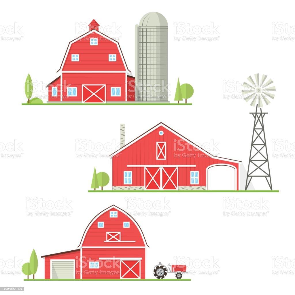 Set of thin line american farm icon vector art illustration