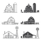 Set of thin line and silhouette american farm icon. Vector dark grey. For web design and application interface, also useful for infographics. Vector illustration.