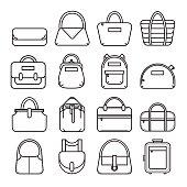 Set of thin line bag icons
