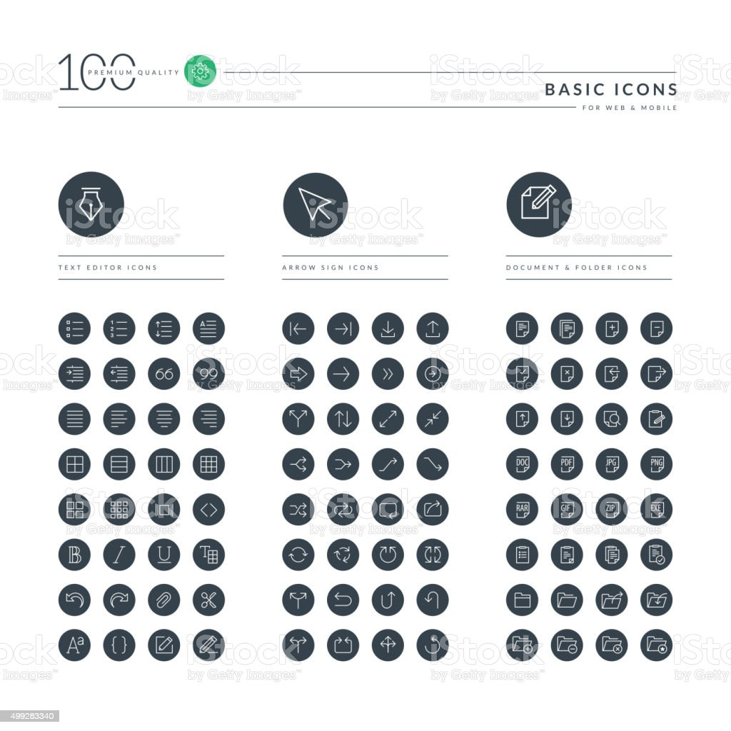 Set of thin line basic web icons vector art illustration