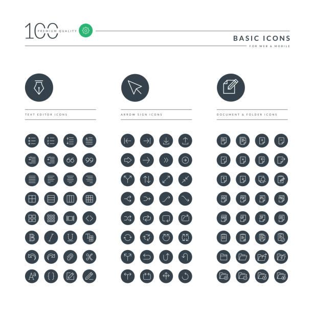 illustrations, cliparts, dessins animés et icônes de ensemble d'icônes web ligne ténue de base - polices ligne fine