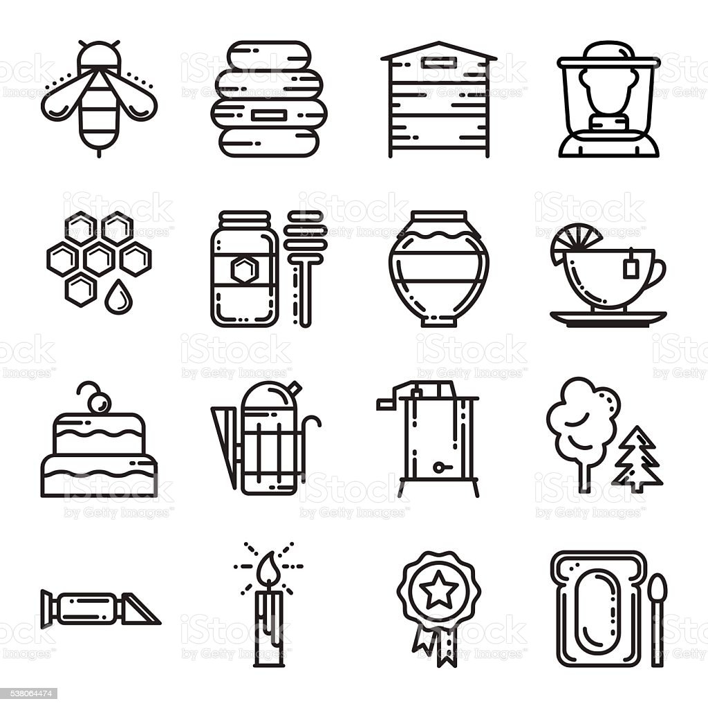 Set of thin line bee and honey vector icons vector art illustration