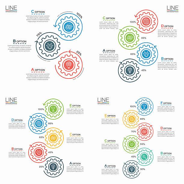set of thin line business infographic templates with gears. - maschinenteil ausrüstung und geräte stock-grafiken, -clipart, -cartoons und -symbole