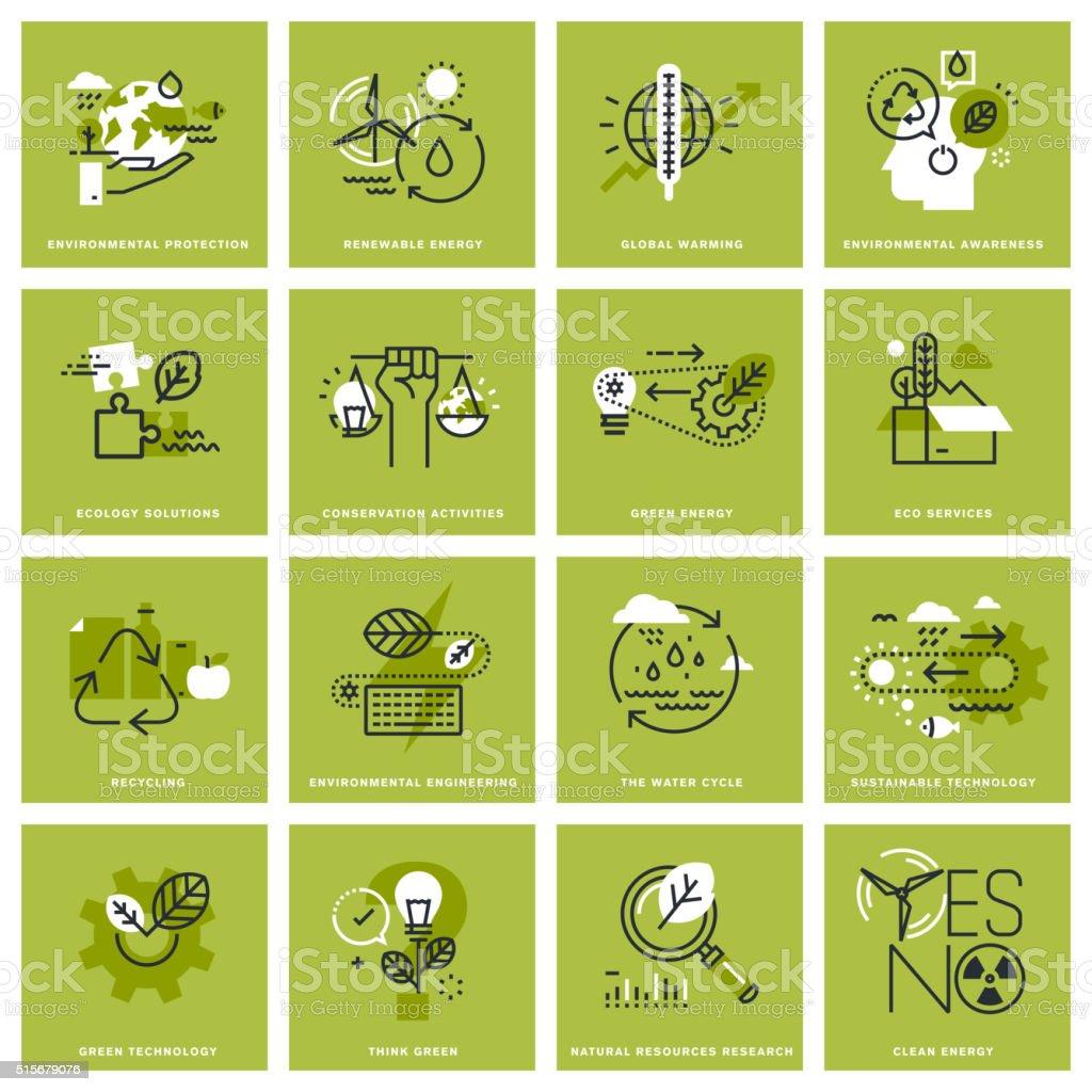 Conjunto de ícones de conceito fina linha de meio ambiente - ilustração de arte em vetor