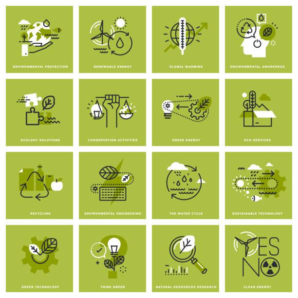 satz von dünne linie konzept symbole der umgebung - umweltkonzept stock-grafiken, -clipart, -cartoons und -symbole