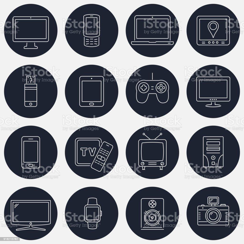 Satz von dünne Linie Geräte Symbole für mobile apps und Web-design – Vektorgrafik