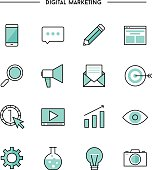 set of thin line flat digital marketing icons