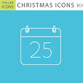 Set Of Thin Line Icon Set - . Flat colors, expanded shapes. Christmas