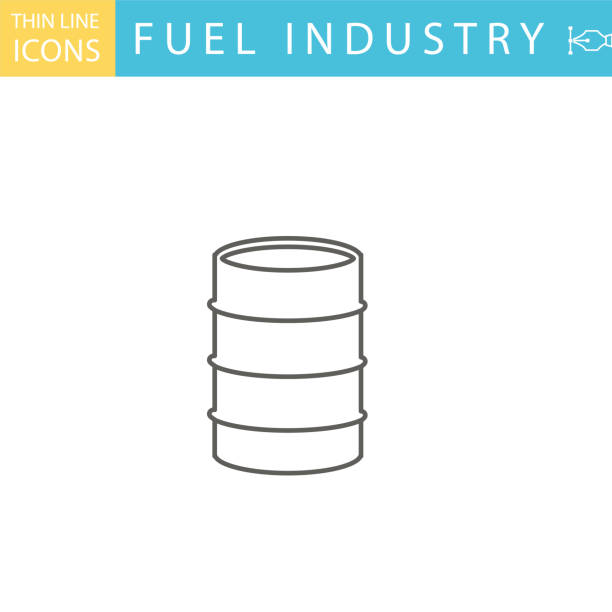 Set Of Thin Line Icon Set - Energy Industry Set Of Thin Line Icon Set - . Flat colors, expanded shapes. Energy, Oil & Power Industry oil drum stock illustrations