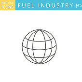 Set Of Thin Line Icon Set - . Flat colors, expanded shapes. Energy, Oil & Power Industry