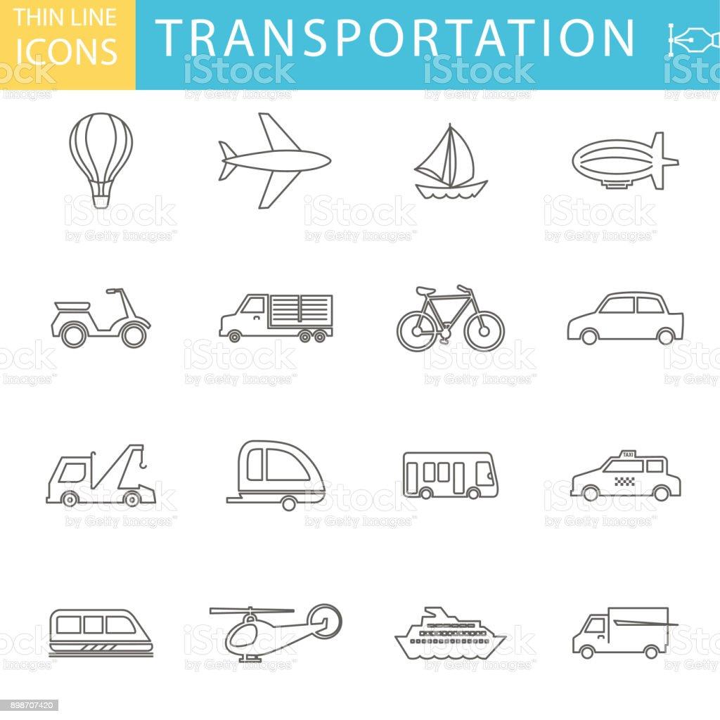 Conjunto de conjunto de iconos de línea fina - transporte y ocio - ilustración de arte vectorial