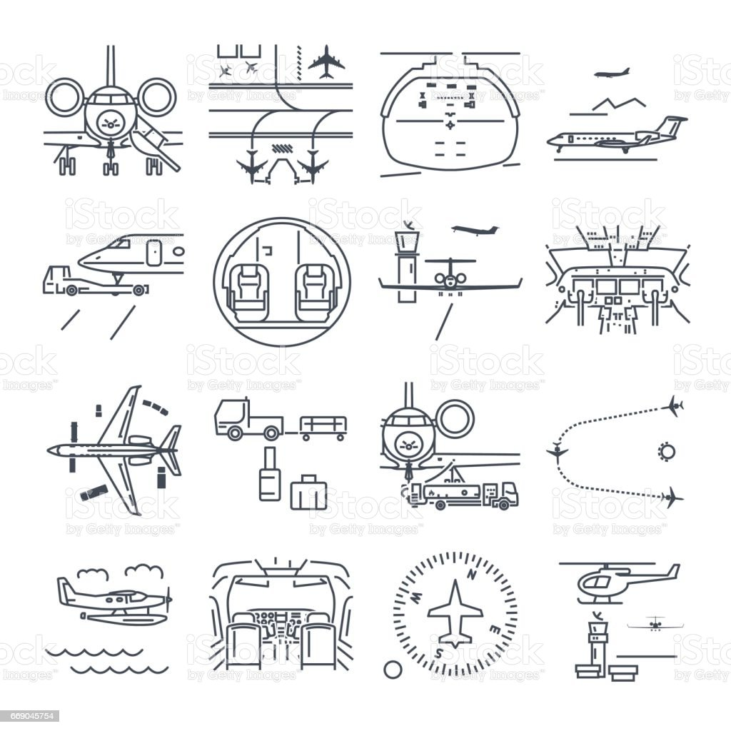 set of thin line icons airport and airplane, business aircraft vector art illustration