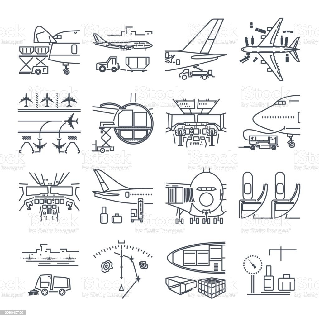 set of thin line icons airport and airplane, freight, cargo vector art illustration