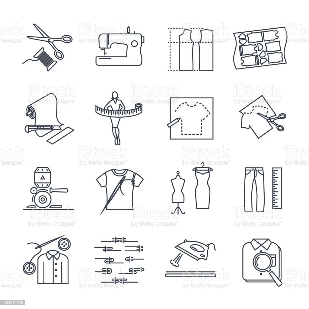 set of thin line icons apparel, clothing vector art illustration
