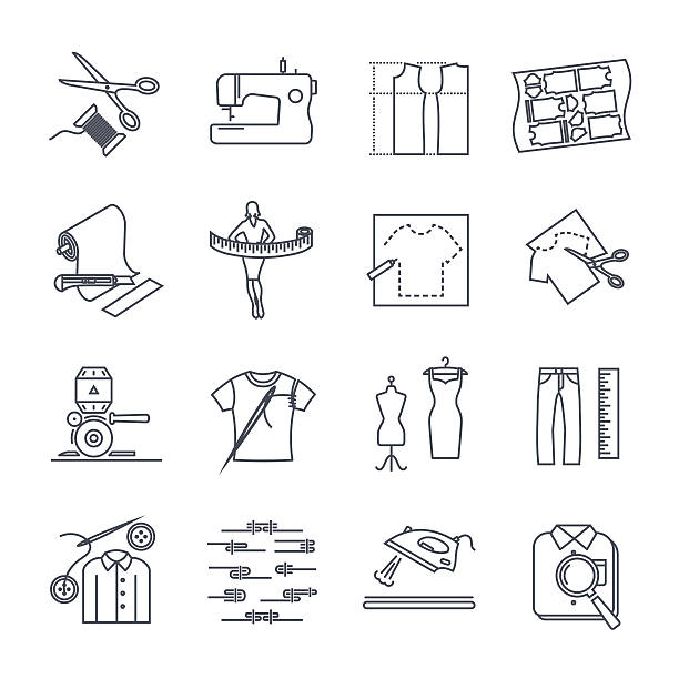 illustrazioni stock, clip art, cartoni animati e icone di tendenza di set of thin line icons apparel, clothing - tailor working
