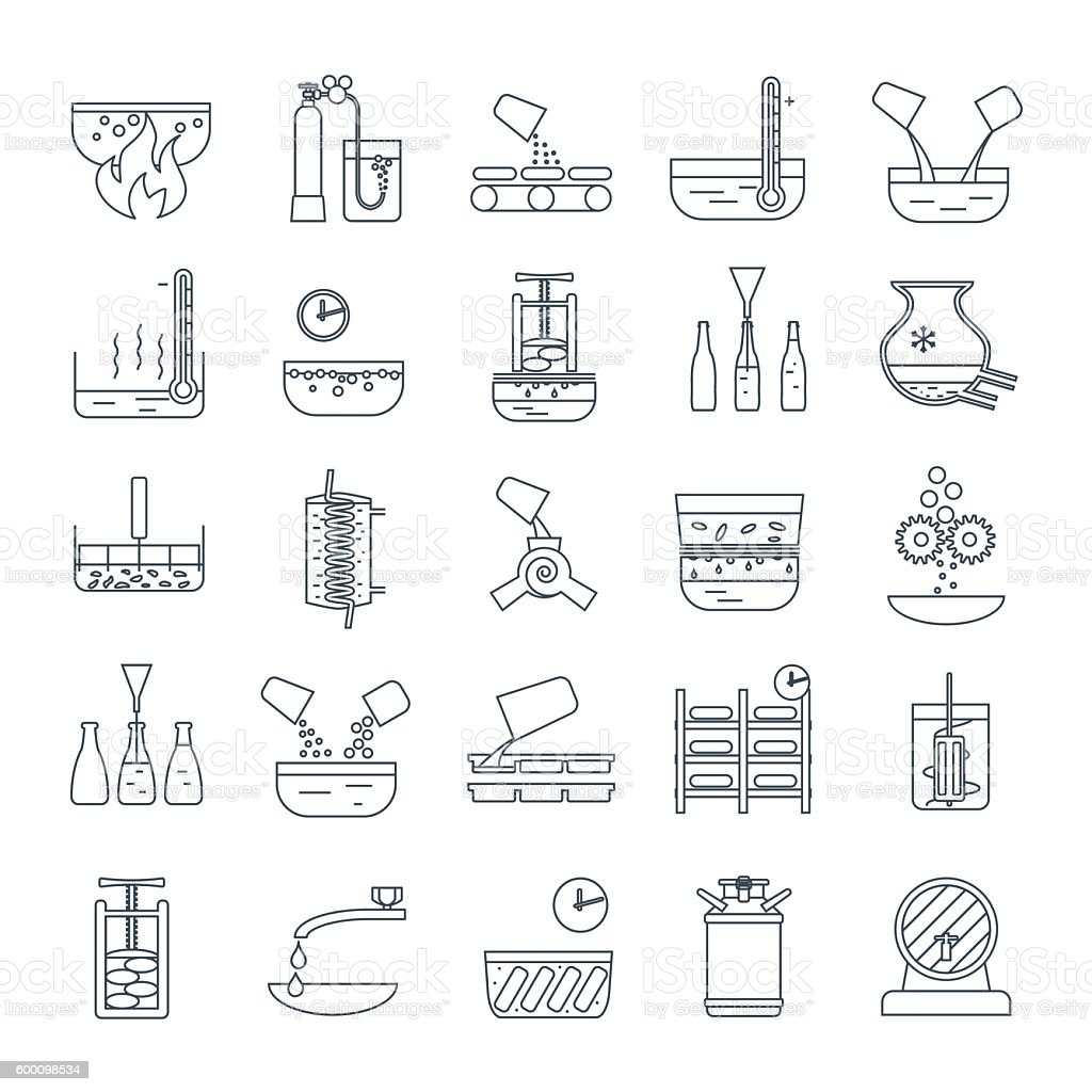 set of thin line icons beverage production process vector art illustration