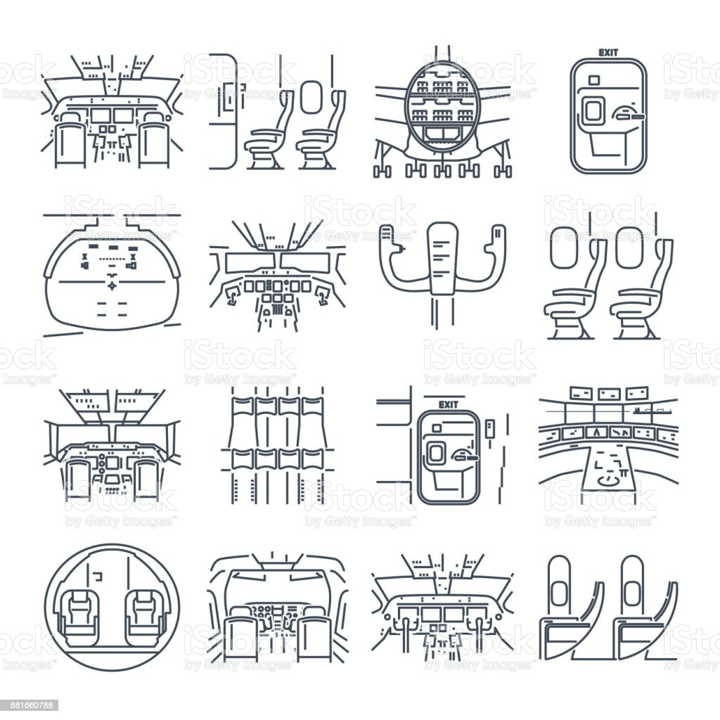 set of thin line icons cockpit airplane, ship, cabin interior vector art illustration