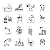 set of thin line icons drinks and beverages industry