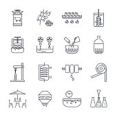 set of black icons manufacture of wine production process きれいに