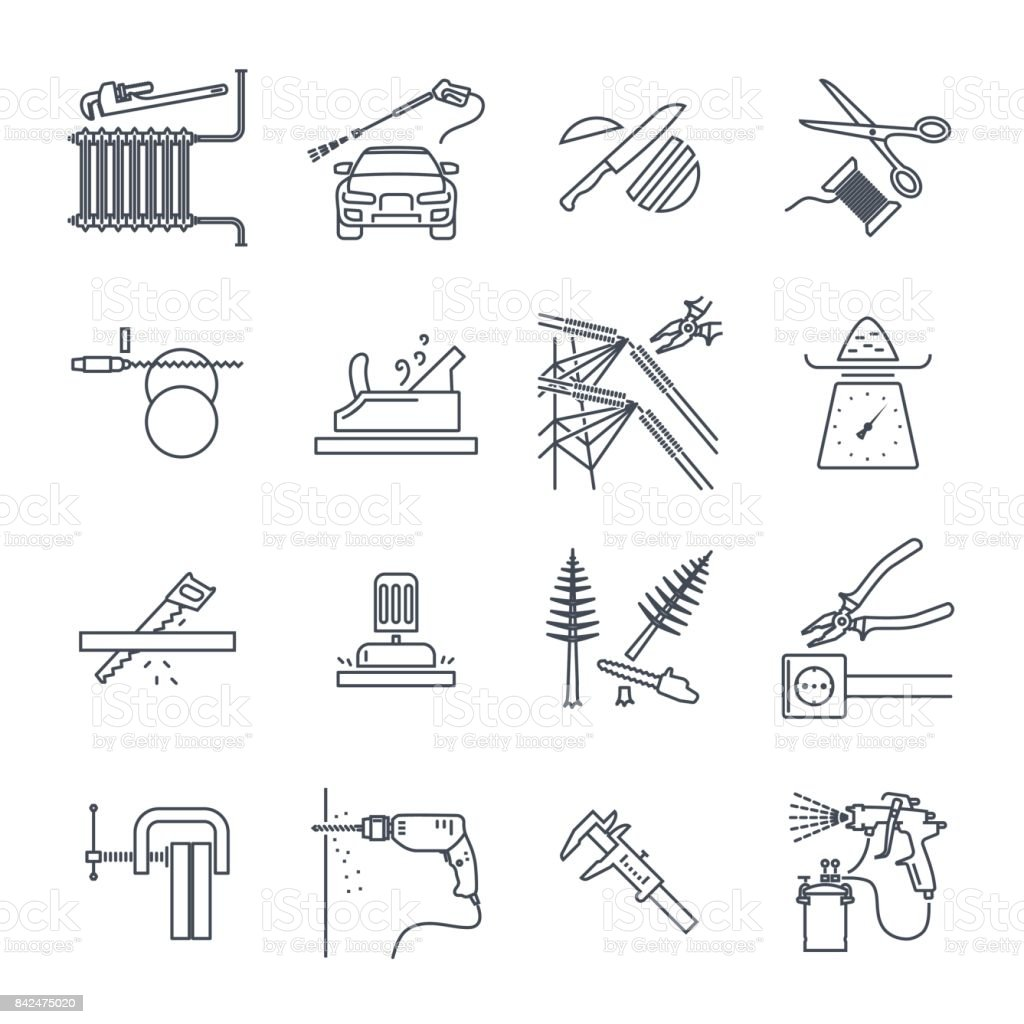 Set of thin line icons electrical hand tools technology stock vector set of thin line icons electrical hand tools technology royalty free set of thin ccuart Image collections