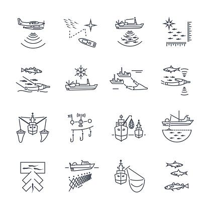 set of thin line icons fishing process