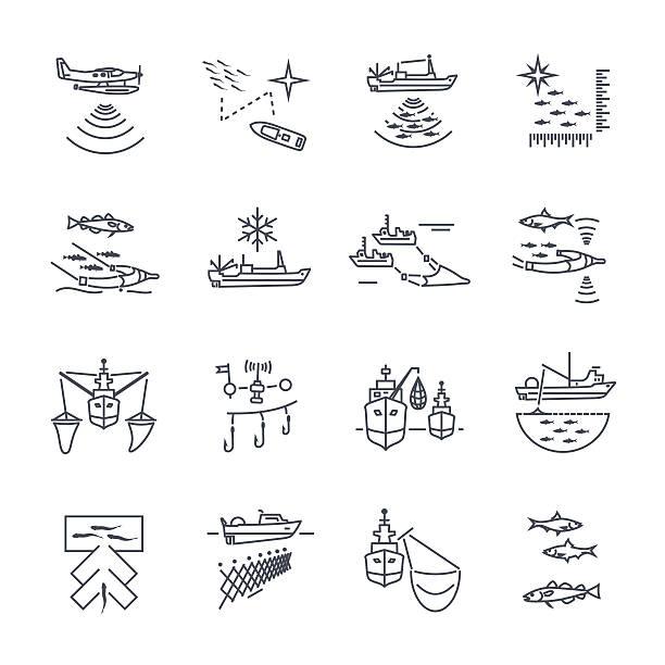 zestaw cienkich ikon linii proces połowu - rybactwo stock illustrations