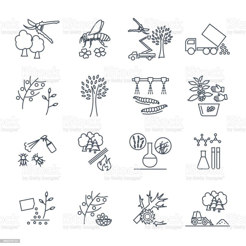 set of thin line icons gardening, farm production process