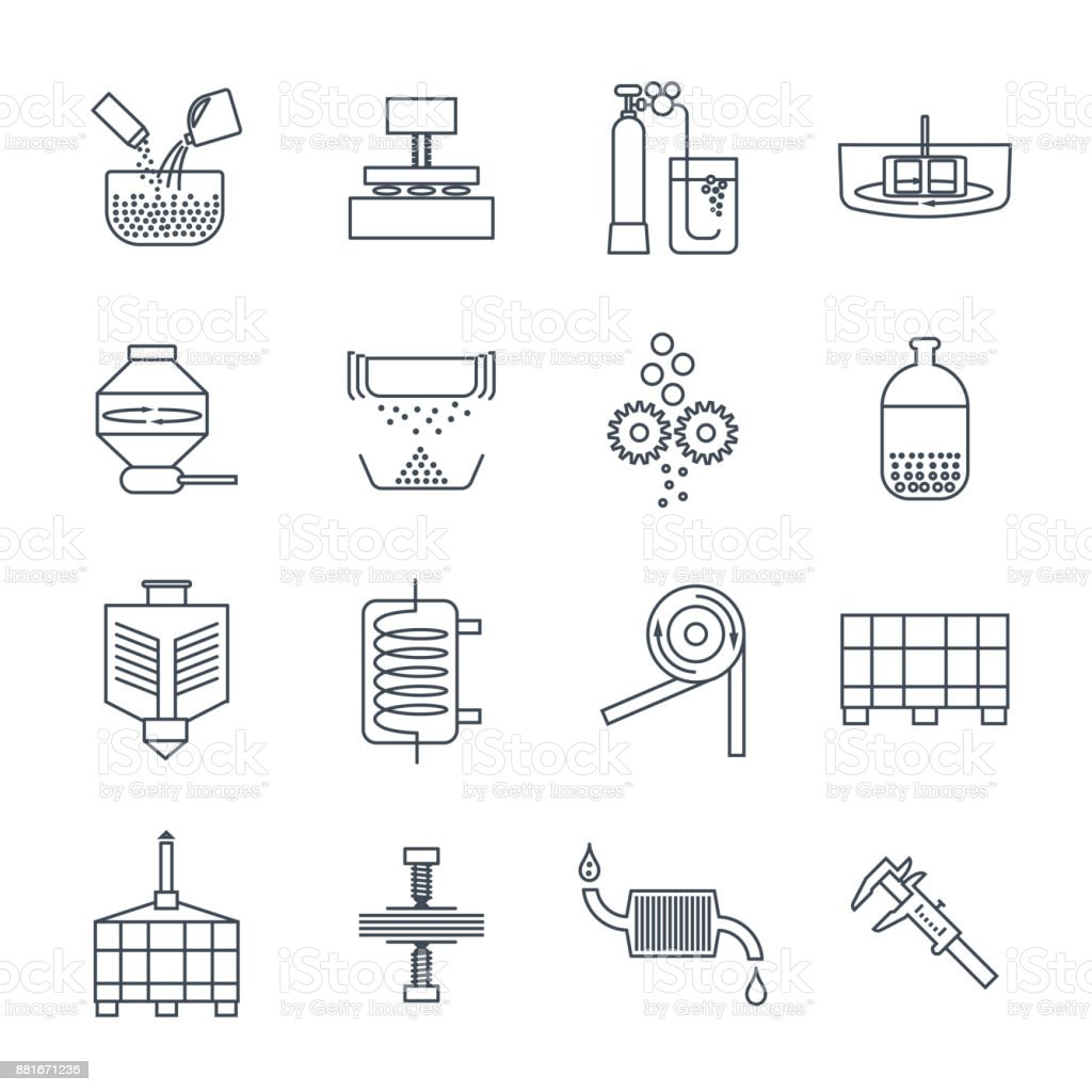 set of thin line icons industrial production, factory, equipment vector art illustration