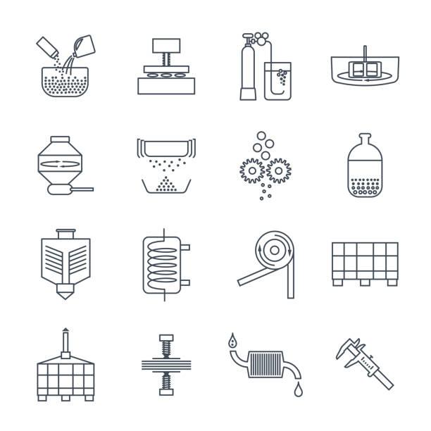 ilustrações, clipart, desenhos animados e ícones de conjunto de produção industrial de ícones de linha fina, fábrica, equipamento - misturando