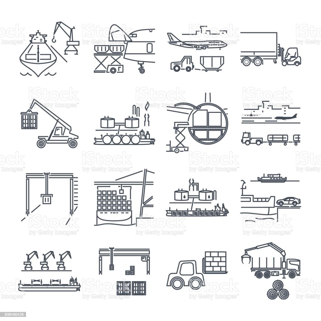 set of thin line icons loading and unloading of goods vector art illustration