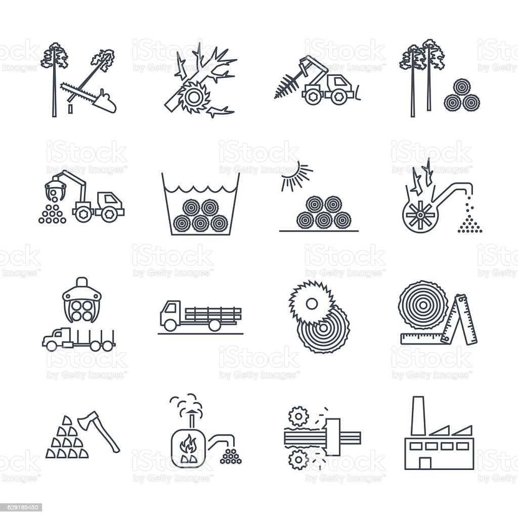 set of thin line icons logging production process vector art illustration