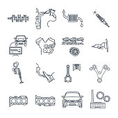 set of thin line icons maintenance, repair of car and automobile