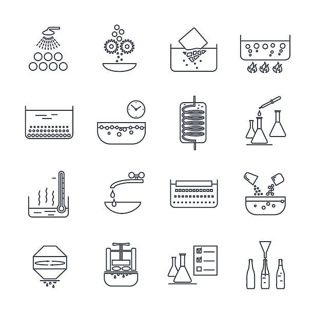 bildbanksillustrationer, clip art samt tecknat material och ikoner med set of thin line icons manufacture of beverages production proce - coffe with death