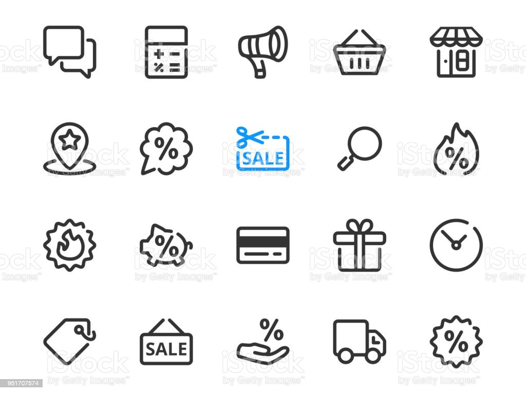 Set Of Thin Line Icons Of Discount Symbols For Sale Stock Vector Art