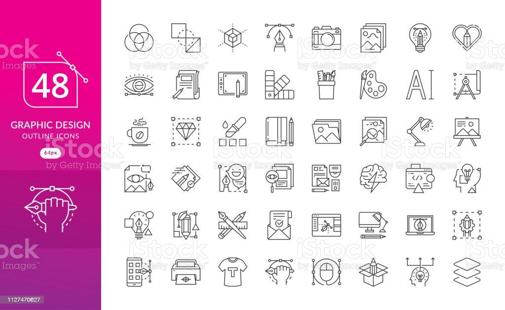Set van dunne lijn pictogrammen van grafisch ontwerp - Royalty-free Balans vectorkunst