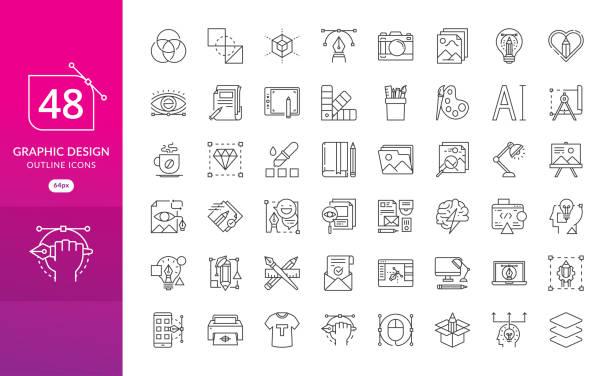 satz der dünne linie ikonen des grafik-design - fotografische themen stock-grafiken, -clipart, -cartoons und -symbole