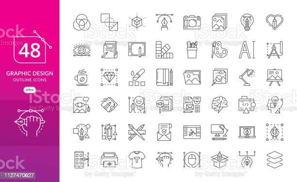 Set Van Dunne Lijn Pictogrammen Van Grafisch Ontwerp Stockvectorkunst en meer beelden van Balans