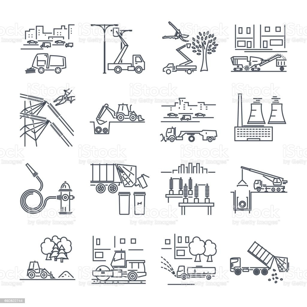 set of thin line icons public utility, construction, installation, operation, supply vector art illustration